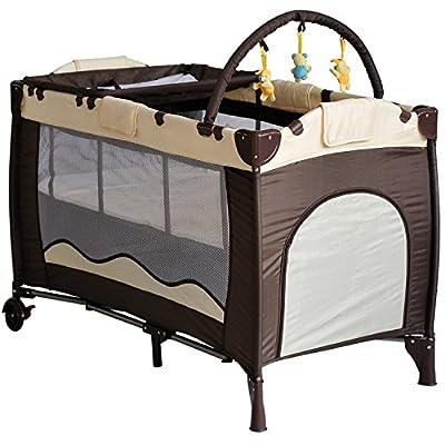 Homcom - Cuna plegable de viaje 120x60x78 cm bebe infantil con cambiador de pañal para niños