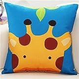M & F Colorful Lovely Cartoon Animales impreso Funda de cojín Lino coche sofá funda de almohada decorativa de la habitación 45x 45cm ()