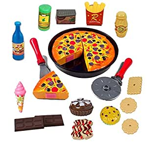 Halo Nation Plastic Pizza Cutting Play Toy - Play Food Party Pretend Play Toy for Kids (Red)