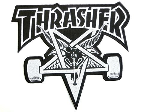 THRASHER Skate Goat 666 Pentagram Skateboard Iron On Sew On Embroidered Back Patch Approx: 9.5/24cm x Approx: 8.9/22cm by Big Patches