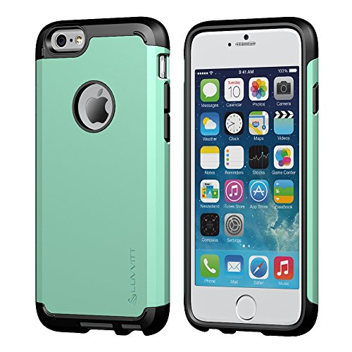 iPhone 6 Plus Case, LUVVITT® ULTRA ARMOR iPhone 6 Plus Case / Best iPhone 6 Plus Case that Fits 5.5 inch Screen | Double Layer Shock Absorbing Cover (Does NOT fit iPhone 5 5S 5C 4 4s or iPhone 6 4.7 inch screen) - Black / Turquoise Mint Green (Luvvitt Ultra Armor Iphone 6 Plus)
