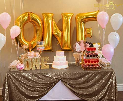 ShinyBeauty C0228T Pailletten-Tischdecke, quadratisch, Pailletten, Schokoladenbraun, für Partys, Schokoladen-Partys, Dekorationen - Schokolade Quadratische Tischdecke