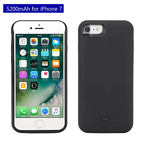 Mbuynow 5200mAh Power Bank per iPhone 7 Custodia Batteria Cover Ricaricabile a lunga durata, Backup Custodia per Apple Iphone 7 (4.7') - Nero