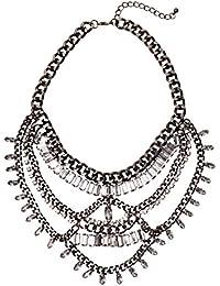 Happiness Boutique Damas Collar Llamativo en Negro | Collar a Capas de Fila Múltiple con Diamantes de Imitación Claros en Estilo Rock Boho Libre de Níquel