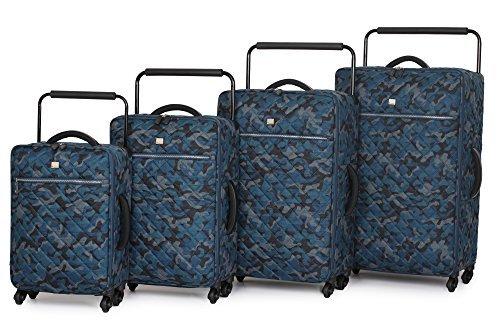 it luggage World's leichteste gesteppt Tarnfarbe vier mit Rollen Koffer - Blau Tarnfarbe, Set of 4