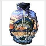 TUWEN Sweatshirt Fashion Print Hooded Shirt Sport Casual 3D Digital Gedruckten Fisch Mit Stereo-Aufkleber Tasche Kleiderschrank