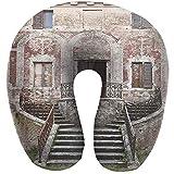 Semi Cuscino a Forma di U Finestra Rustica Toscana Vecchio Vaso di Fiori con otturatore in Legno sul Muro di Pietra Medievale Borgogna Avorio e Grigio