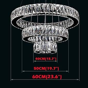 shangdefengtm LED Lustre en cristal Lumière moderne d'éclairage trois anneaux d405060K9cristal Grand Hôtel Plafonnier Fixations, 220–240V