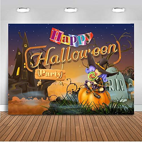 mehofoto Happy Halloween Party Hintergrund 7x 150Candy Lover Hexe Kürbis Foto Hintergründen Trick or Treat Graveyard Nahtlos knitterfreies Fotografie Hintergrund