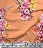 Soimoi Orange Viskose Chiffon Stoff Blätter, Rose &