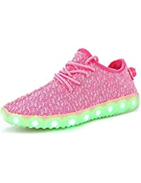 LED Zapatos,Shinmax Primavera-Verano-Otoño Transpirable Zapatillas LED 7 Colores Recargables Luz Zapatos de Deporte de Zapatillas con Luces Para Niños Adultos con CE Certificado