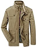JZWXX Men's Spring Autumn Casual Cotton Classic Multi-Pocket Cargo Military Style Jacket Coat (UK Large, UK8255 Khaki)