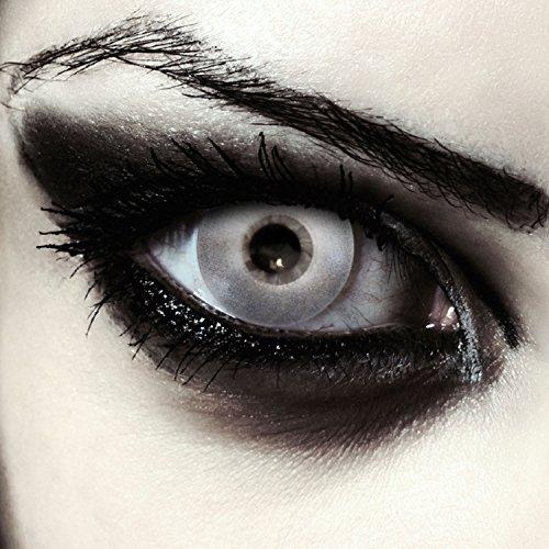 taktlinsen für Halloween Kostüm Farblinsen in silber + gratis Kontaktlinsen Behälter Model: Silver Surfer (Silber Kontaktlinsen)