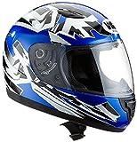 protectWEAR SA03-BL-XXS Kinder Motorradhelm, Integralhelm, Größe XXS (Youth M), Blau/Silber