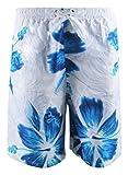 MissFox Hommes Shorts de Bain Loisirs Orchidée Imprimé Surf Maillot de Bain