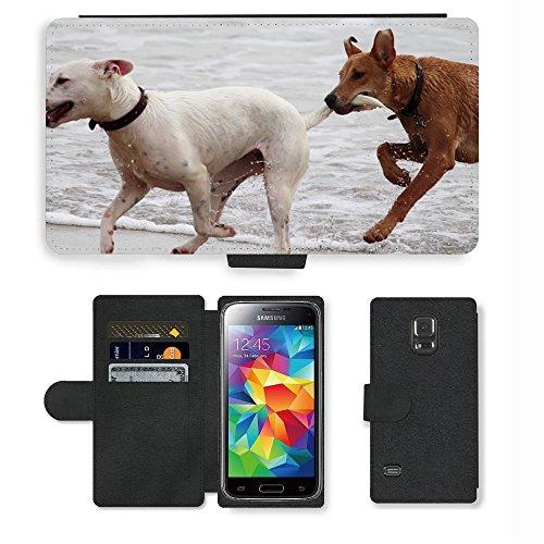 Just Phone Cases PU LEDER LEATHER FLIP CASE COVER HÜLLE ETUI TASCHE SCHALE // M00421764 Hunde Stöckchen zu spielen Beißen Romp // Samsung Galaxy S5 MINI SM-G800 (not fit S5)