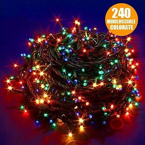 Catena Luminosa Luci Natalizia 11 metri - 240 Minilucciole Colorate 3 Vie MULTICOLOR, Cavo Verde Scuro con Controller Memory 8 Funzioni per uso Interno