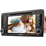PUMPKIN 7 Zoll 2 Din Autoradio DVD Player Moniceiver mit GPS Navigation für Audi A3 2003 - 2011 unterstützt Bluetooth Lenkradfernbedienung Rückfahrkamera 3G