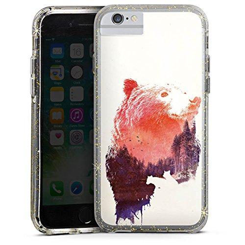 Apple iPhone 7 Bumper Hülle Bumper Case Glitzer Hülle Baer Bear Natur Bumper Case Glitzer gold