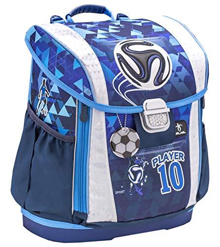 Belmil 404-20 Schulranzen ergonomischer Schulranzen Größen verstellbar Jungen 1. klasse 2. klasse 3. klasse - gepolsterter Hüftgurt und Brustgurt/Fußball, Soccer Football (Player)
