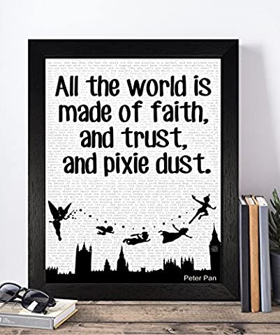 Vintage Peter Pan Disney Quotes Unframed A4 Print Poster Christmas Xmas Birthday Gifts For Him Her Women Home Decor Wall Art For Bedroom Living Room Hallway