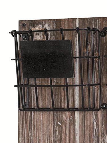 Memoboard aus Massivholz / MDF mit 6 Schlüsselhaken, Körben und Ablage; Maße (B/T/H) in cm: 37 x 9 x 55 - 2