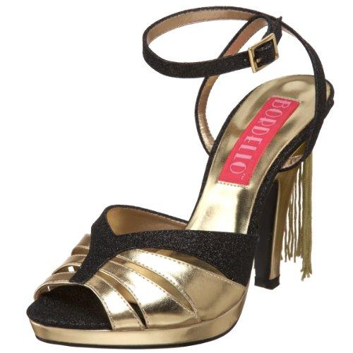 Pleaser Bordello by Siren-05G Damen-Sandale, Schwarz (Black Glitter/Gold Polyurethane), 37 EU - Bordello Siren