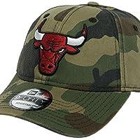 New Era - Casquette Effet usé Camouflage Kaki avec Logo Bulls visière courbée