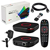 MAG 324 originale IPTV Infomir e HB-DIGITAL Set TOP Box Multimedia Player Ricevitore IP per Internet TV (supporto HEVC H.256) + Nano WLAN Stick + Cavo HDMI