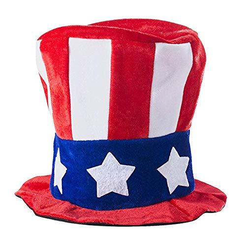Sombrero del tío Sam, Vococal Día de la Independencia Estufa Tubo Sombrero de copa Cuarto 4 de julio Accesorios de fiesta patrióticos para el traje de cosplay del tío Sam