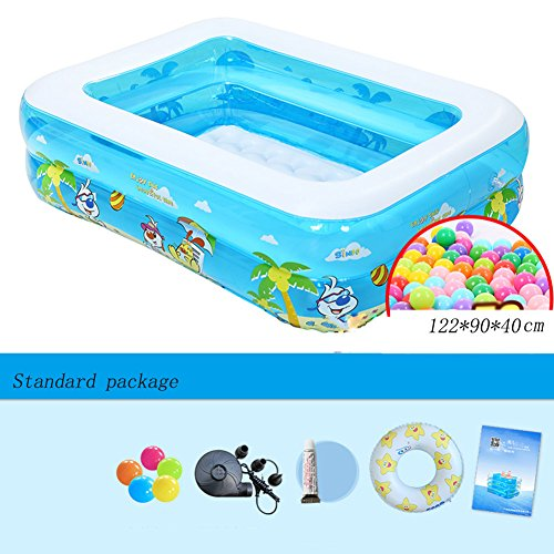 Piscina inflable para bebés Rectangle Blue 2 Rings Familia Piscina para paletas muy grande 122 * 90 * 40cm (Color : Standard package)