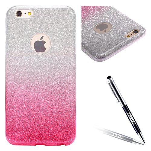iPhone 6S Hülle,iPhone 6 Hülle,JAWSEU Kreative Schön Mermaid Muster Glänzend Glitzer Paillette Hülle Klare Ultradünne Silikon Gel Schutzhülle Durchsichtig Kristall Transparent Bling TPU Silikon Bumper Gradient Pink