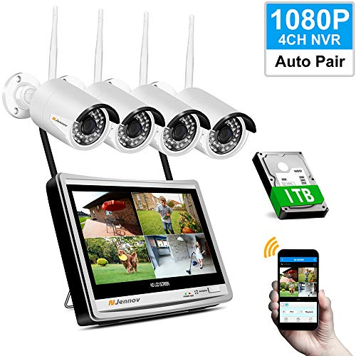 Jennov Kit Caméra Surveillance WiFi, Système de...