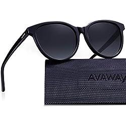 AVAWAY Retro Polarizzati Uomo Donna Occhiali da sole UV400 Protezione, Telaio in Acetato