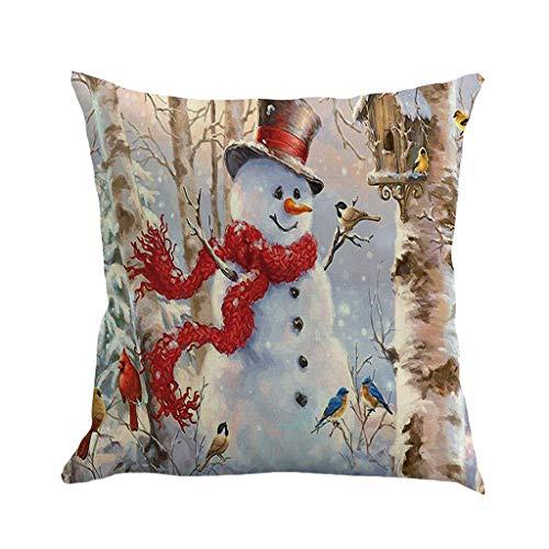 OPALLEY 1 STÜCK Weihnachten Baumwolle Leinen Sofa Car Home Taille Kissenbezug Dekokissen Fall (A, 45X45cm) Weihnachten Leinen Kissen Kissen Dekoration Dekoration Dekoration Dekoration