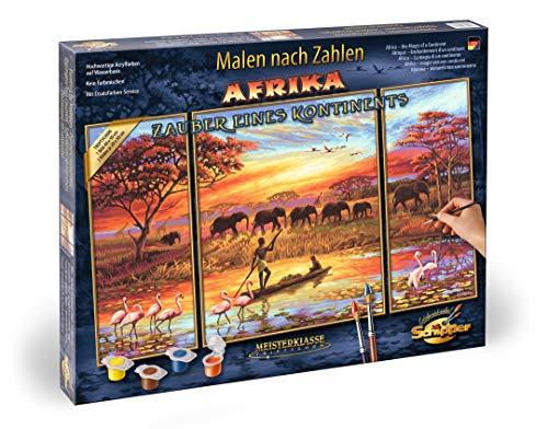 Schipper 609260627 609260627-Malen nach Zahlen-Afrika Zauber eines Kontinents (Triptychon), 50x80 cm