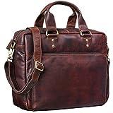 STILORD 'Jack' Ledertasche Aktentasche Herren Vintage Umhängetasche für Büro Business Arbeit 13,3 Zoll Laptoptasche für große DIN A4 Aktenordner echtes Leder, Farbe:Cognac - Dunkelbraun