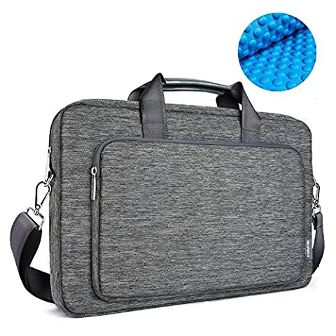 WIWU 17 Inch Segeltuch Aktentasche Laptop Tasche Beutel mit Handgriff und Schultergurt Handtasche Aktenkoffer für Macbook Pro / Tablet / Notebook Business Schutzhülle Wasserdicht (Grau, 17,3 Zoll)