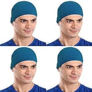 The Blazze Cotton Helmet Cap (Free Size, Turquise Blue+Turquise Blue+Turquise Blue+Turquise Blue)