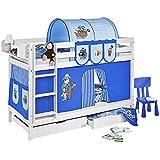 """Literas """"CABALLEROS Y PRINCESAS BLANCA"""" con cortinas !!!OFERTA DOS SOMIERS GRATIS!!! - Piratas Azul claro / Azul oscuro, 90 x 190"""