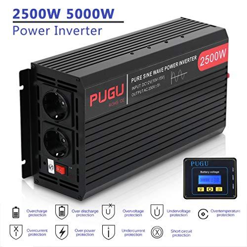 Poncherish Wechselrichter 2500W / 5000W Reiner Sinus Spannungswandler 12V auf 230V Inverter mit Externe Bildschirm