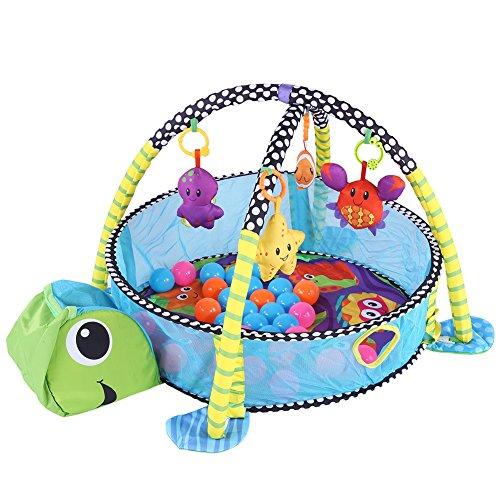 Baby krabbeln Matte, Baby Spielmatte Aktivitäts matte Erlebnisdecke mit 33 Bälle Baby Fitnessstudio Spielzeug mit Sicherheit Schutzgitter Mesh (Turtle Style)