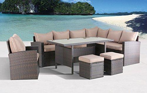 Hohe Dinning Poly Rattan Lounge inkl. Einem Sessel und Zwei Hocker Milos XL braun auch spiegelverkehrt nutzbar aus dem Hause Pure Home & Garden