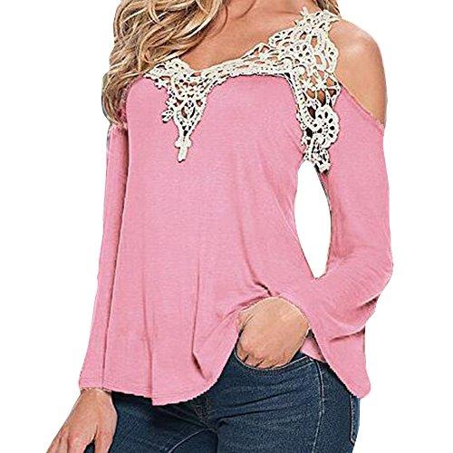 Camicia della camicetta della parte superiore del merletto della molla del manicotto della parte superiore della spalla sexy delle donne Highdas Rosa