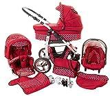 Chilly Kids Dino 3 in 1 Kinderwagen Set (Autosit & Adapter, Regenschutz, Moskitonetz, Schwenkräder) 35 Rot & Weiße Punkte