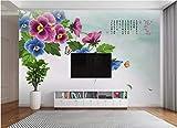 BHXINGMU Wandgemälde Schmetterling Und Orchidee Großes Wohnzimmer Tv Hintergrund Wand Wohnkultur 240Cm(H)×330Cm(W)
