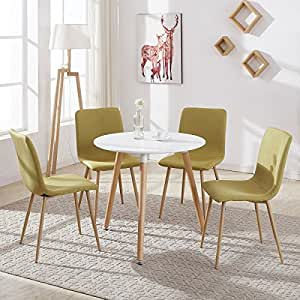 round dining table and 4 fabric chairs with shell seat solid comfortable white 80 x 75 cm. Black Bedroom Furniture Sets. Home Design Ideas