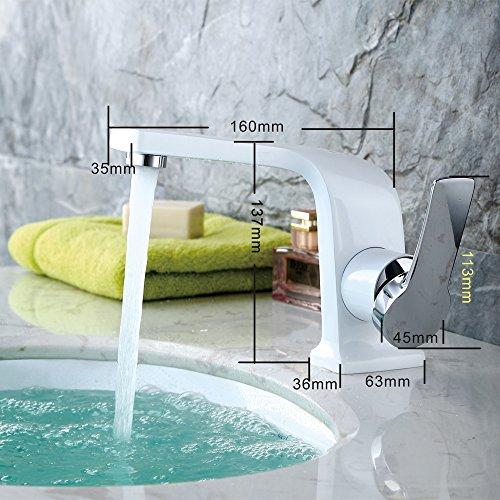 Homelody – Einhebel-Waschbeckenarmatur, ohne Ablaufgarnitur, Curved-Design, Weiß-Chrom - 3