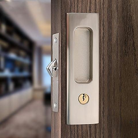 Ccjh Verrou de porte en acier inoxydable Serrure pour porte coulissante Barn Wood Loquet de porte, Silver, Invisible Sliding Barn Door Locks