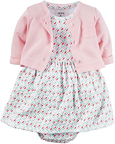 CARTER'S - Baby Girl Set - Dress with Attached Bodysuit and Cardigan Sweater - Soft 100% Cotton  - 3 Months -